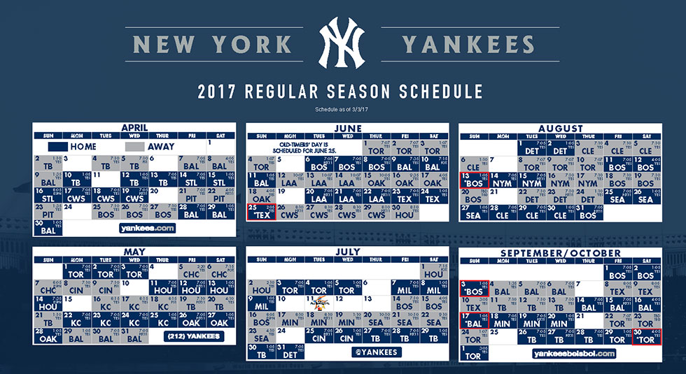 New York Yankees 2018 Regular Season Schedule
